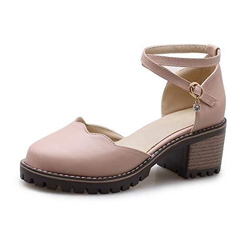 Grueso ZHZNVX Almendra Rosa Tacón Poliuretano Talones Negro de Mujer de Confort Zapatos Verano Pink PU de PprxFPgUq