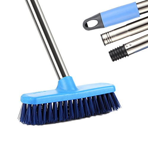 Floor Deck Scrub Brush, YCUTE 47'' Stainless Steel Long Handle Stiff Bristle Grout Brush Scrubber Best for Clean Bathroom, Tub & Tile, Wall and - Clean Deck