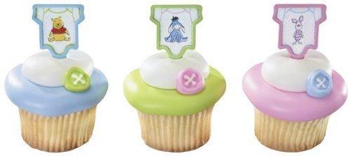 Winnie the Pooh, Piglet and Eeyore Polka Dot Baby Onesie Cupcake Picks - 12 ct by Bakery Supplies ()