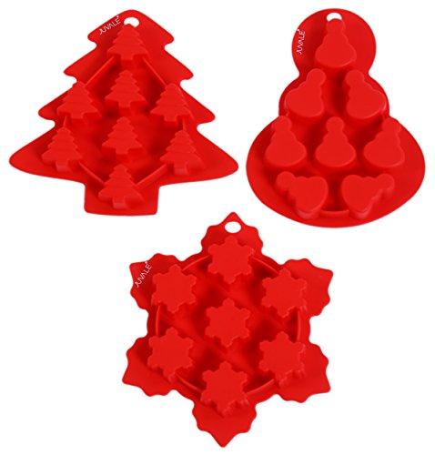 Juvale Christmas Silicone Baking Molds - 3 Piece Set - Holiday Christmas Tree Snowman Snowflake ()