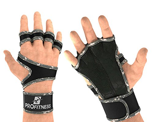 ProFitness Cross Training Gloves With Wrist Support (Camo, Small) (Gloves Camouflage Nylon)