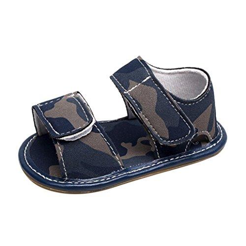 BZLine Baby Sommer Leder Camouflage Sandalen Sommer Weiche Flache Schuhe Blau