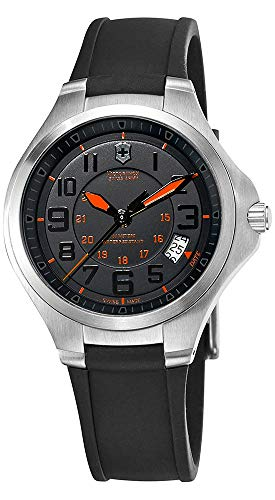 (Victorinox Swiss Army Base Camp Steel Quartz Black Rubber Strap Men's Watch Black Dial Date 241464)