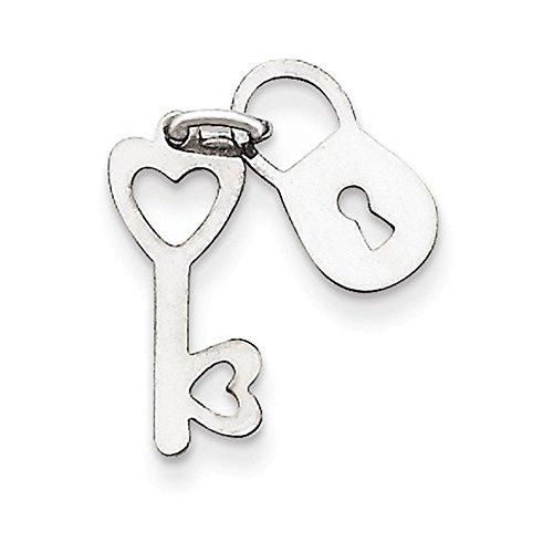 Jewelry Adviser Charms 14k White Gold Polished Lock & Key Charm