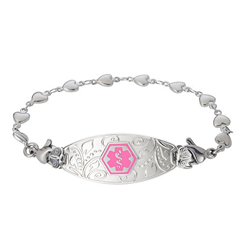 Divoti Custom Engraved Medical Alert Bracelets for Women, Stainless Steel Medical Bracelet, Medical ID Bracelet w/Free Engraving - Lovely Filigree Tag w/Heart Link-Pink-7.5