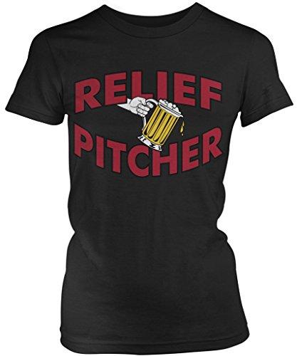 Amdesco Relief Pitcher, Beer Pitcher Junior's Ladies T-Shirt, Black 2XL
