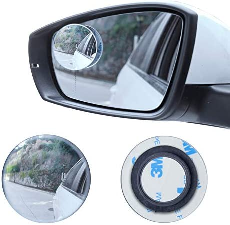 LivTee Blind Spot Mirror, 2″ Round HD Glass Frameless Convex Rear View Mirror with wide angle Adjustable Stick for Cars SUV and Trucks, Pack of 2