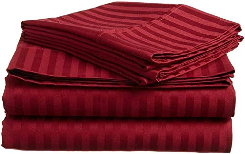 4 PCs Bed Sheet Set - 100% Egyptian Cotton - 600 Thread Count - 16 Inch Deep Pocket of Fitted Sheet - Burgundy Stripe, Cal-King Size