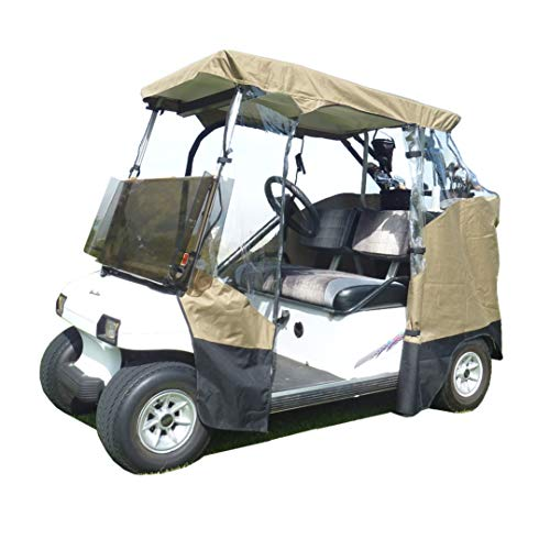 Formosa Covers 3 Sided Drivable Golf Cart 2 seater Enclosure with Zippered door, fits E Z GO, Club Car and Yamaha G model roof up to 58
