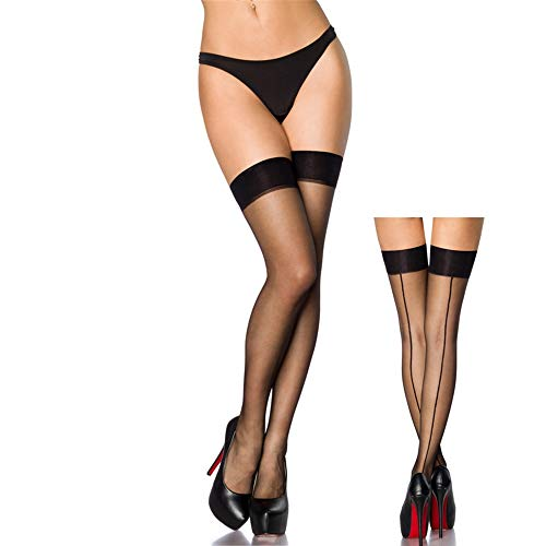Women's Sheer Nylon Thigh High Stockings With Back Seam (Black with Black Seam)