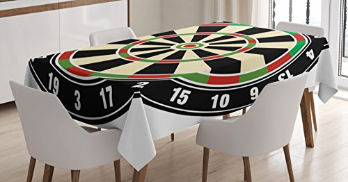 Ambesonne Sports Tablecloth, Dart Board Numbers Sports Accuracy Precision Target Leisure Time Graphic, Dining Room Kitchen Rectangular Table Cover, 52 W X 70 L inches, Vermilion Green Black
