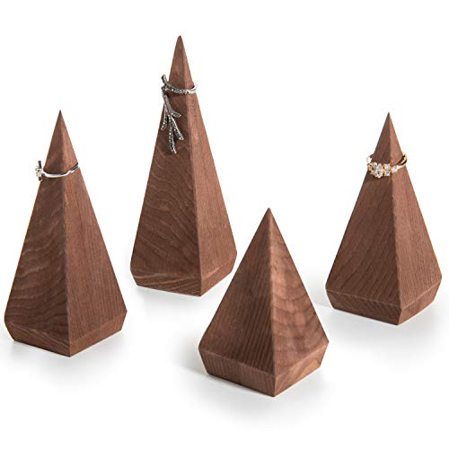 Cone Heirloom - MyGift Pyramid-Shaped Brown Wood Ring Holders, Set of 4