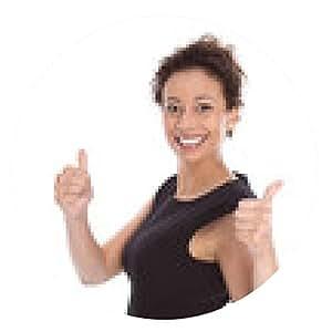 alfombrilla de ratón Presione ambos pulgares - mujer joven negro aislado en el vestir - ronda - 20cm