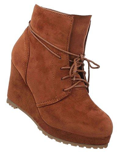 Damen Schuhe Stiefeletten Keil Wedges Plateau Boots Camel