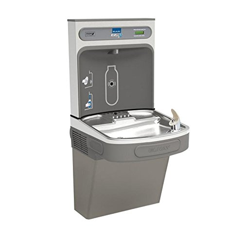 Elkay LZS8WSLK Wall Mount Drinking Fountain with Bottle Filler Station, Light Gray Granite from Elkay