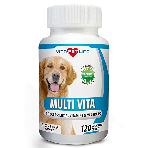 - Vitamin for Dogs, Essential Multivitamin and Minerals for Dogs, Immune System Booster, Vitamin B, Calcium, Supports Heart, Bones, Teeth, Skin and Coat, 120 Natural Chew-able Tablets.