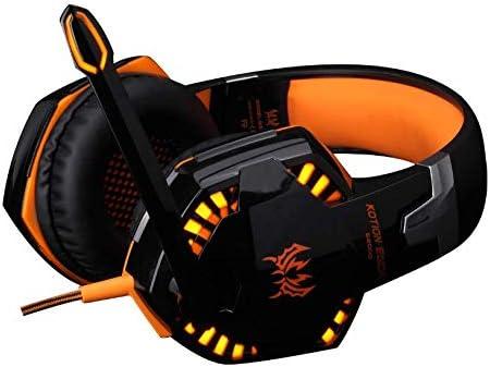G2000最新モデルヘッドフォンラップトップノートブックデスクトップコンピューターPS4ゲームミュージックヘッドセットマイクヘッドセット付きサブウーファー、PCマイクゲーミングヘッドセット日本語説明書,オレンジ色