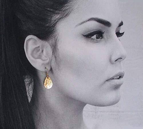 (TALI Hammered Brass Earrings Gold Teardrop Earrings Handmade Modern Metal Simple Everyday 14k Gold Filled Jewelry Dangle Drop Earrings)