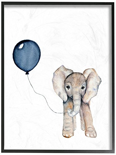 The Kids Room by Stupell Baby Elephant with Blue Balloon Oversized Framed Giclee Texturized Art, 16 x 20 by The Kids Room by Stupell