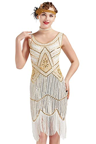 BABEYOND 1920s Flapper Dress Roaring 20s Great Gatsby Costume Dress Fringed Sequin Dress Embellished Art Deco Dress (White & Gold, Large) -