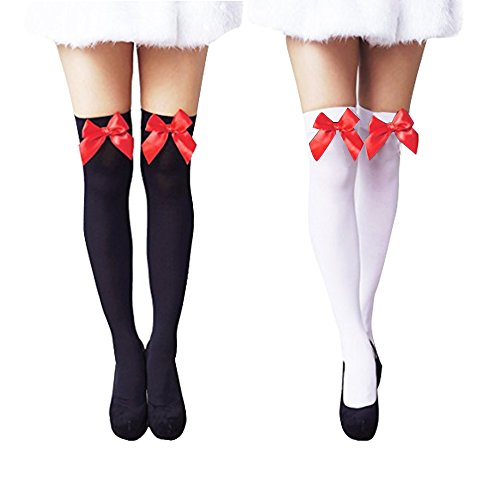Bows Thigh High Tights - Women Trendy Sexy Velvet Bow Knee High Hosiery Thigh High Silk Stockings 2 Pairs (White+Black)