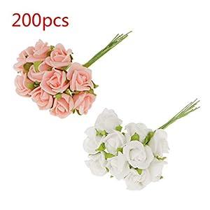 B Blesiya 20pcs Artificial Rose Flower Blossom Bridal Bouquet for Wedding Lifelike Artificial Flower Bouquet, Pink&White 33