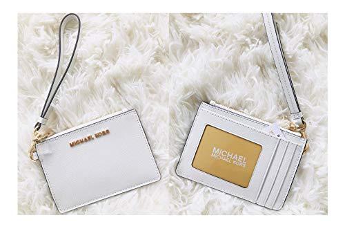 Michael Kors Jet Set Travel Coin Purse Wristlet Card Case Wallet (White)