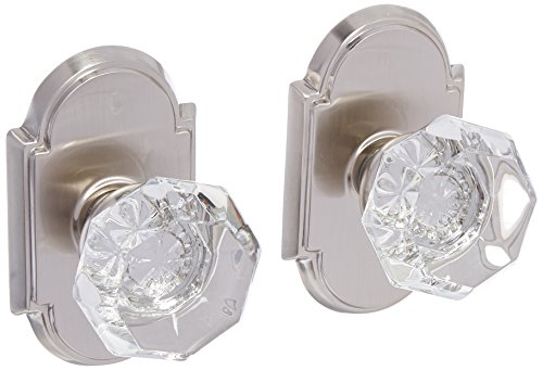 Arched Rosette Set With Old Town Crystal Knobs Double Dummy In Satin Nickel. Old Door (Crystal Dummy Knob Set)