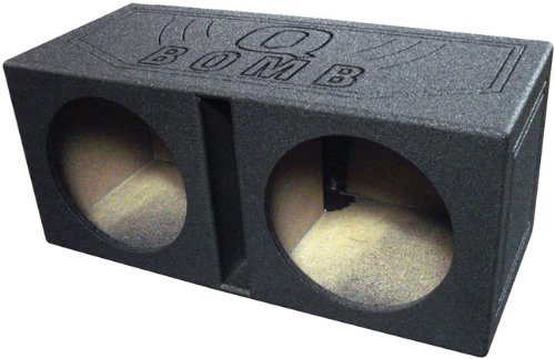 12' Vented Enclosure - Q Power QBOMB12V Dual 12-Inch Vented Speaker Box with Durable Bed Liner Spray