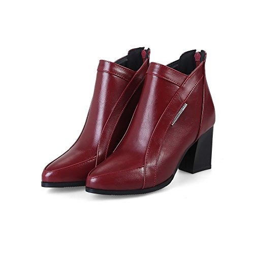 Boots Heels Warm Urethane Solid Zip MNS02534 1TO9 Kitten Toe Dress Suede Leather Claret Closed Smooth Cuff Boots Lining Ankle Womens Road 5xT0Y