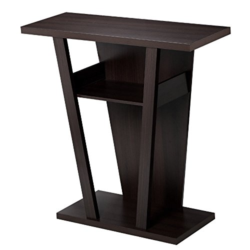 Seleq Trapezoid Particle Board Console Table with Open Shelves - Table Demilune Glass Console