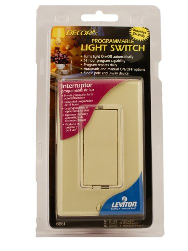 Leviton 6651-I Decora 40W-500W 14 Hour Segment Programmable Electronic Incandescent Only Timer, Ivory
