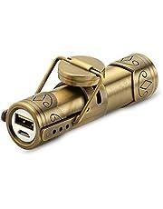 Steampunk Powerbank | Power Bank draagbare oplader | 3000 mAh externe acculader | 3-in-1 oplaadkabel voor micro-USB, Lightning-kabel en USB-C