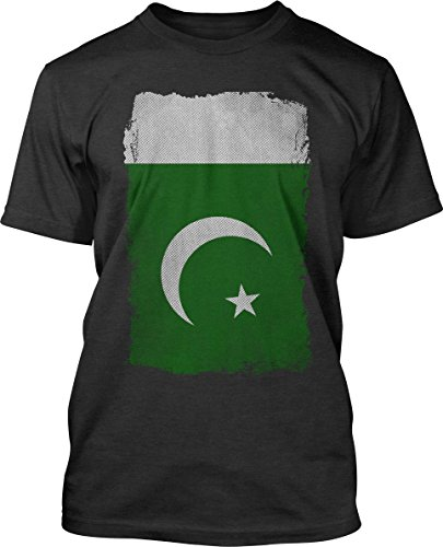 Big Texas Weathered Flag of Pakistan Fine Jersey T-Shirt, Charcoal Marle, L