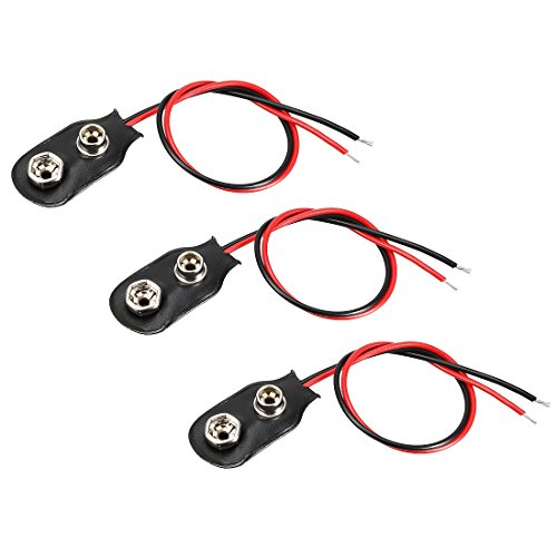 uxcell 3pcs DC 9V Battery Clip I-Type Buckle Connector Faux Leather Housing Lead Wire 14.5cm ()