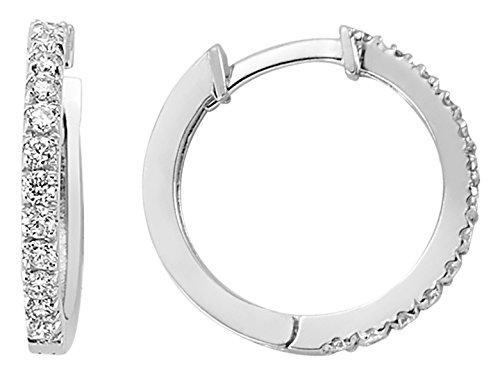 Birgie Diamants et Bijoux -Boucles d'Oreilles Anneaux Diamants-Femme- or Blanc 204E0063