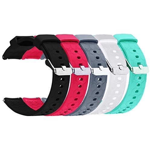 RuenTech for Garmin Forerunner 645 Replacement Band(20MM Width) Silicone Watch Band Strap for Garmin Forerunner 645/645 Music GPS Running Watch (5colors)
