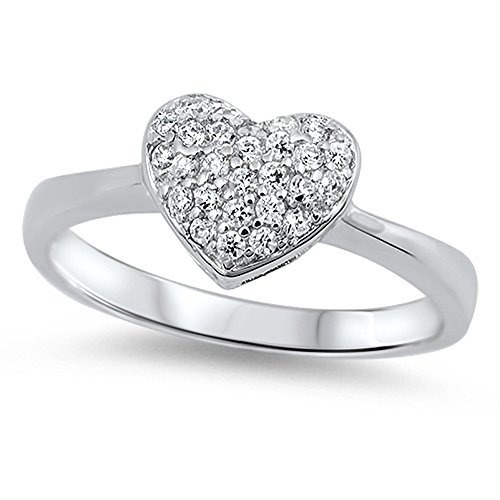 Clear CZ Heart Micro Pave Love Polished Ring 925 Sterling Silver Band Size 8 (Micro Pave Heart)