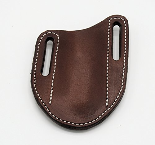 (Folding Knife Sheath Case Quality Leather Friction Fit for Medium Size Knives Brown English Bridle Leather Right Side )