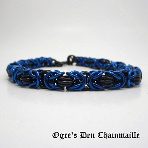 Blue and Black Byzantine Chainmaille Bracelet - Thin