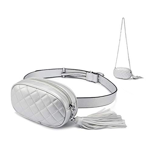 Fanny Pack for Women Waist Bag Fashion Belt Purse Chest Purses Designer Bum Bags with Chain Shoulder Tassel PU Quilted Cute Stylish Silver