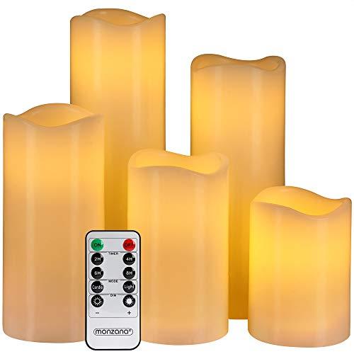 Monzana 5 LED Kaarsen van Echte Was, met Afstandsbediening, Timerfunctie, Flikkerende Vlam, 5 Verschillende maten, 7,5…