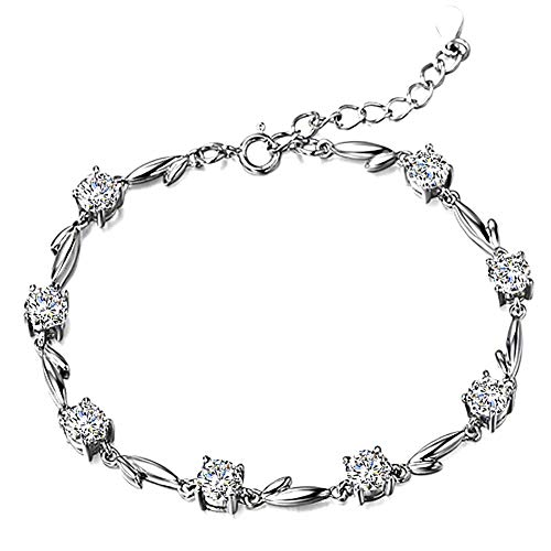 Zirconia Heart Twinkle Cubic - ZSML 925 Sterling Silver Bracelet Bangle, Cubic Zirconia Cuff Bangles Adjustable Tennis Bracelets for Women Elegant Jewelry Gift