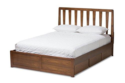 Baxton Studio 146-424-8199-AMZ Garonne Storage Platform Bed, Queen, Walnut Brown
