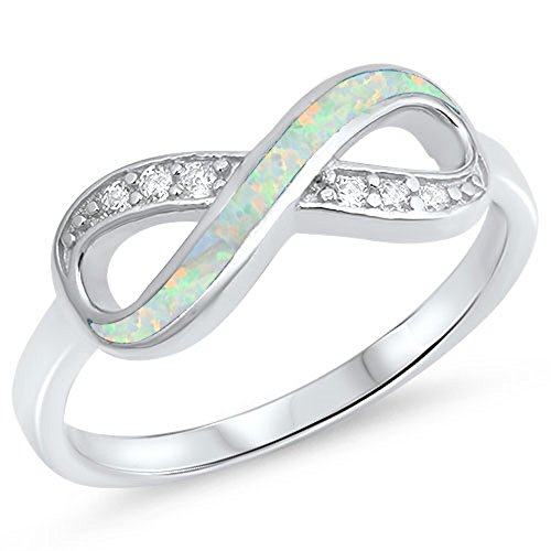 Clear CZ White Simulated Opal Infinity Knot Ring .925 Sterling Silver Band Size 7