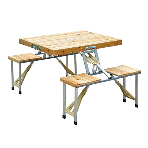 Allblessings 4 Seats Wooden Picnic Table Bench Seat Outdoor Folding Camping Aluminum Portable (Merry Garden Interchangeable Picnic Table And Garden Bench)