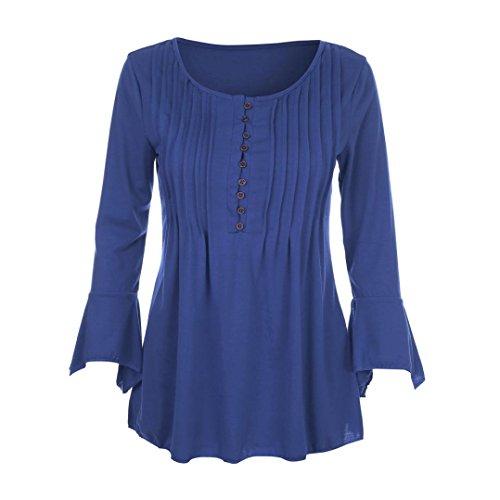 Tops T Mode Casual bleu Longues Haut Shirt Lache Femmes Tefamore Blouse S Manches w1q6nxtqER