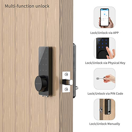 [Newest]Smart Lock, NexTrend Smart Electronic Door Lock with Bluetooth Keyless, Touchscreen, Mechanical Keys Enabled Auto Lock & Alarm Technology for Home/Hotel/Apartment, Silver by NexTrend (Image #2)