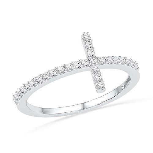 - 10kt White Gold Womens Round Diamond Cross Band Ring 1/5 Cttw