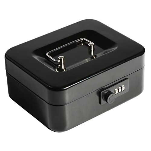 Decaller Cash Box with Combination Lock, Safe Metal Small Locking Box with Money Tray, 7 4/5
